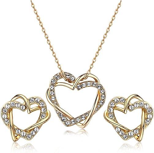 JINLAND ITALINA Collier Femme Pendentif Double Coeur Cristal Swarovski  Elements plaqué Or Bijoux pour Femme