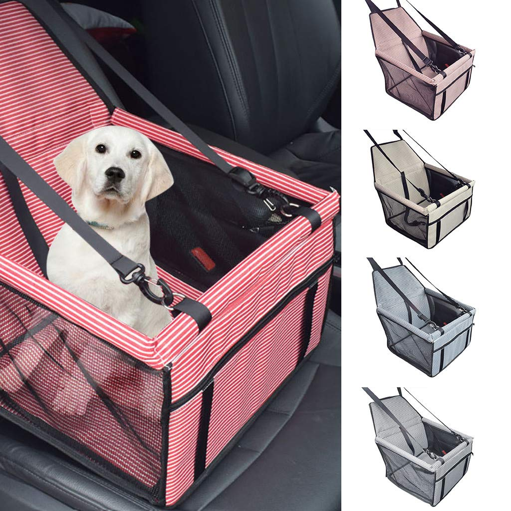 Pet Booster Seat,Portable Dog Cat Car Seat with Clip-On Safety Leash and Zipper Storage Pocket,Outdoor Travel pet Carrier Cage,Fashion Collapsable Car Seat Cover for small medium dog cat pets (Red) by LAIHUI