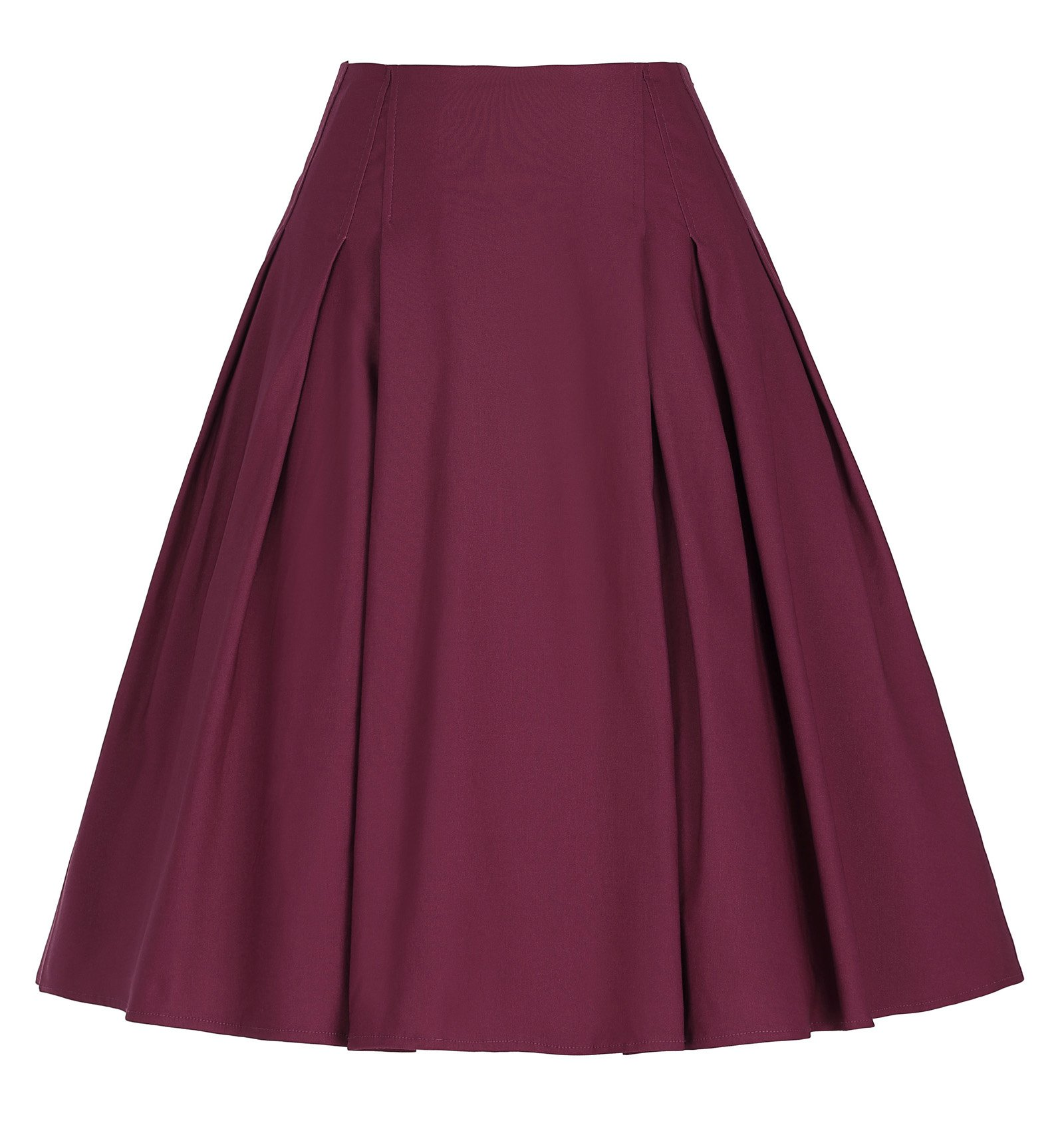 Paul Jones®Dress Women's Wine Red Vintage Pleated Skirt with Pockets Size S