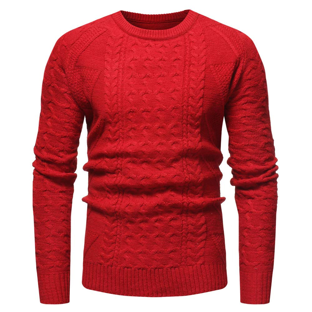 AKIMPE Men's Autumn Winter Solid Pullover Casual Knitted Trutleneck Sweater Blouse Top