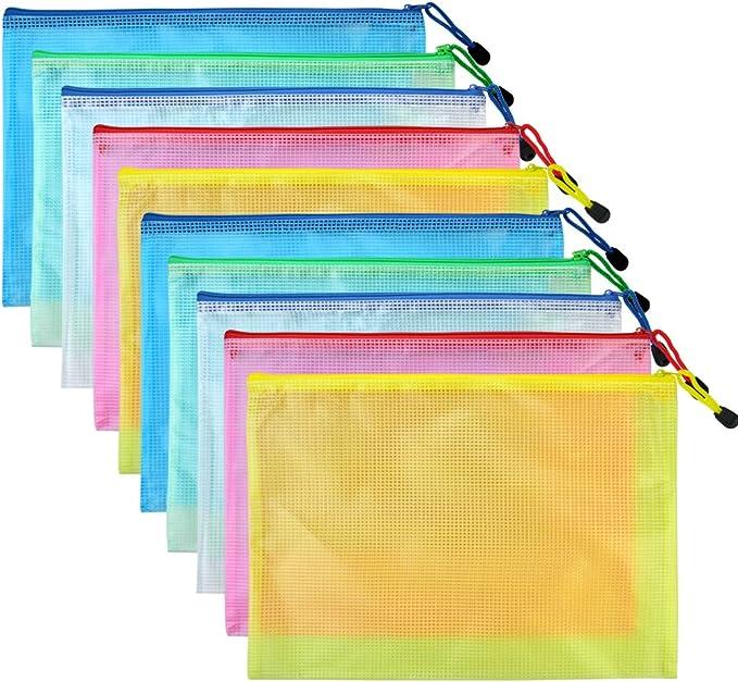 For A4 Documents Mesh Bag Zip Pouch File Case B4 Plus Mesh Bag Wallet
