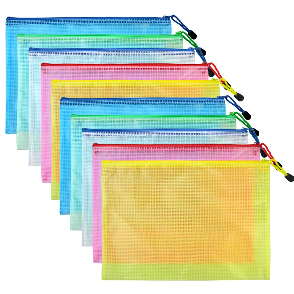 Bantoye 10 Pcs A4 Zipper File Bags, Zippered Waterproof PVC Pouch Plastic Zip Document Filing Folder 5 Colors