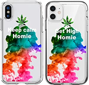 Shark Compatible Marijuana Weed Keep Calm Get high My Homie Best Friends Style Matching Couple Cases for iPhone XR