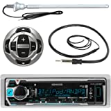 "Kenwood MP3/USB/AUX Marine Boat Yacht Stereo Receiver Player Bundle Combo w/ RC35MR Wired Remote Control, Enrock Water Resistant 22"" Radio Antenna, Outdoor Rubber Mast AM/FM 45"" Antenna"