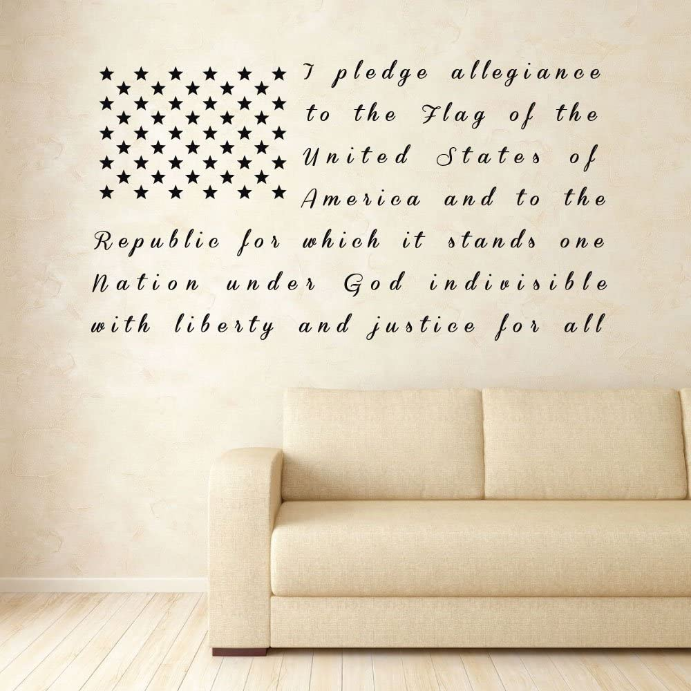 CustomVinylDecor American Flag Pledge of Allegiance Vinyl Wall Decal | Patriotic Vinyl Sticker for Home or Classroom Decoration | Small and Large Sizes | Black, Blue, Red, White