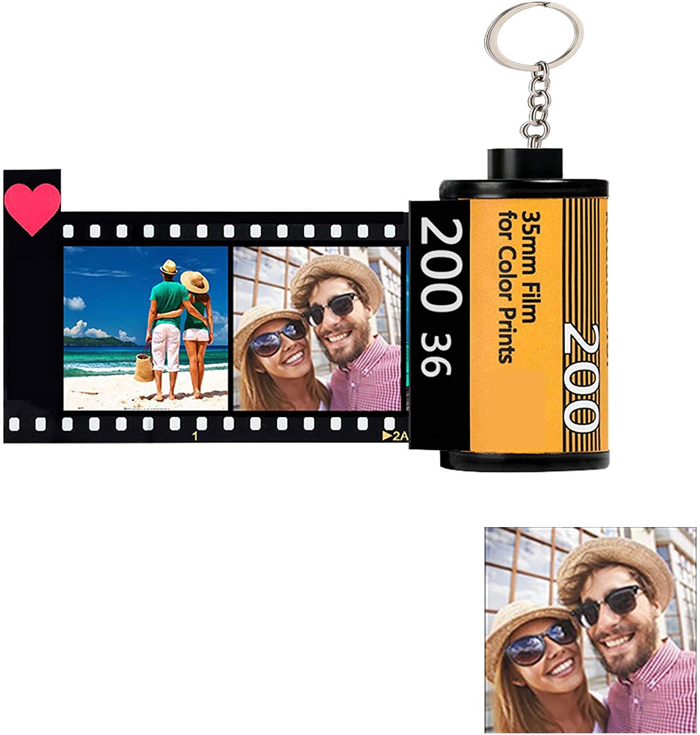 Personalized Keychains with Picture x 10 & Text, Colorful Custom Camera Film Roll Keychain Key Ring Photo Reel Retro Unique Christmas Birthday Holiday Gift for Lover Dad Mom Kids Friend