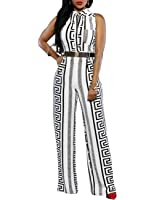 Ninimour Women's V Neck Sleeveless Stripe Print Wide Leg Jumpsuits with Belt