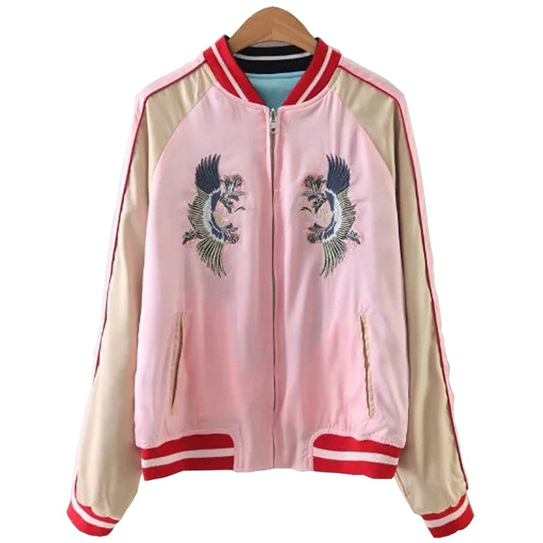 Shining4U Women's Reversible Crane Tiger Embroidery Bomber Jacket Japanese Style Pink Blue As PictureX-Large