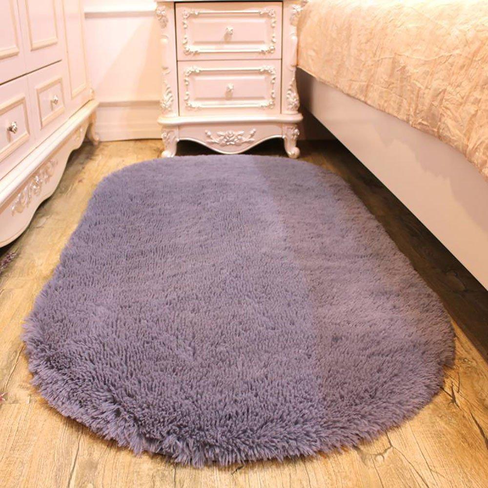 Pingenaneer Tapis de Chambre Super Doux Cheveux Tapis à Long Poil Antidérapant Forme Ovale Tapis de Maison Salle de Bain 80 x 160cm - Beige