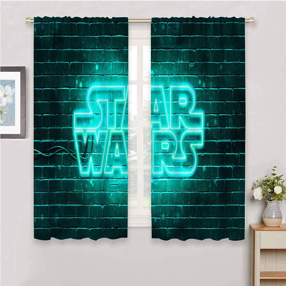 DIMICA Home Decor Sliding Door Curtains Star Wars Turquoise Logo Noise Reducing Curtain W42 x L63 Inch, Star Wars Turquoise Logo