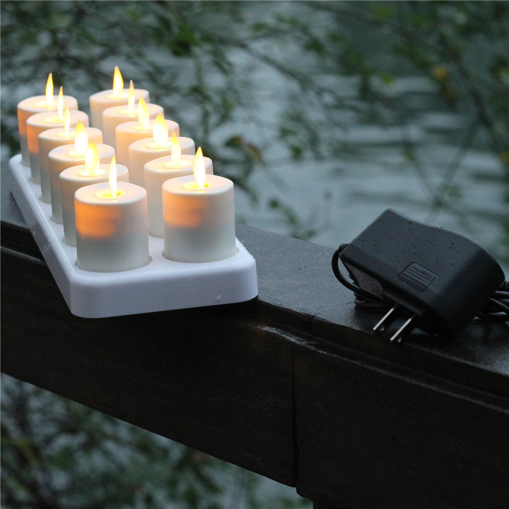 NONNO&ZGF 3D LED Dancing Light Votive Candles with Rechargeable Base and Remote - Set of 12 by NONNO&ZGF (Image #6)