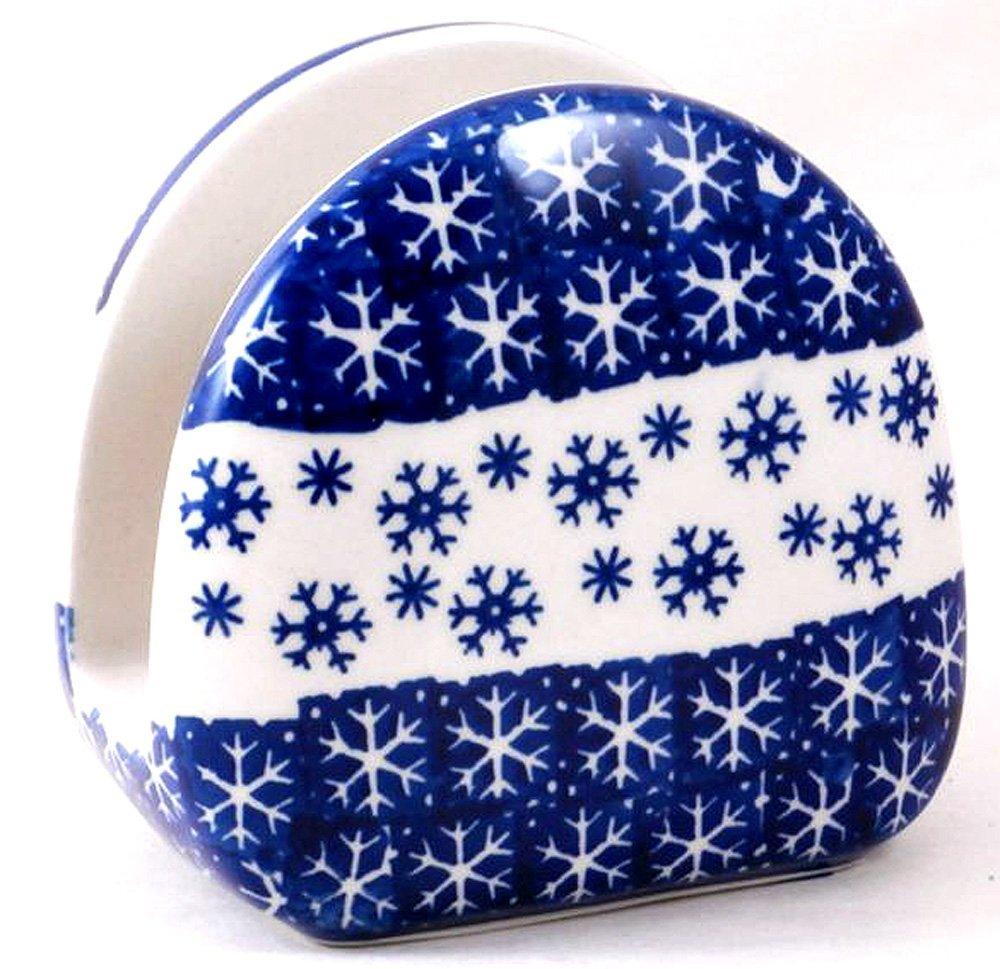 ポーランド食器ナプキンホルダー冬のパターンPZまたはスノーフレーク   B07FZN482J