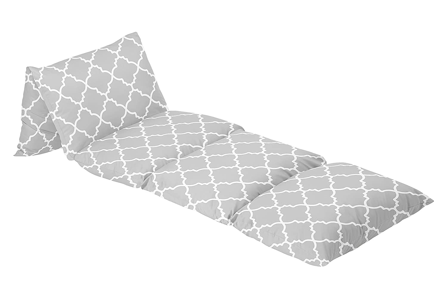 Sweet Jojo Designs Gray and White Trellis Kids Teen Floor Pillow Case Lounger Cushion Cover (Pillows Not Included)