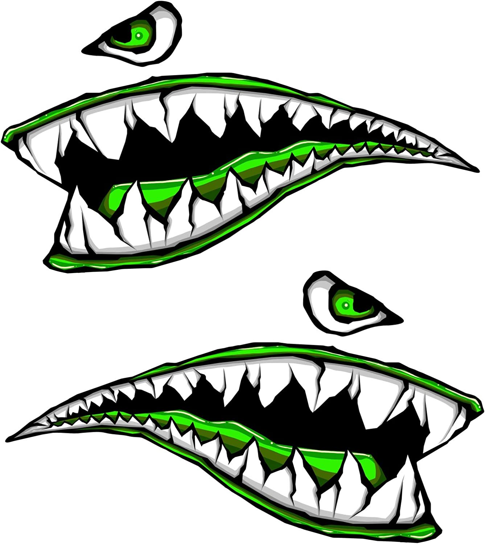 Side Gas Tank Fighter Shark Teeth Green P-40 3d Gel Motorcycle Gas Tankpad h Motorcycle Decal Sticker