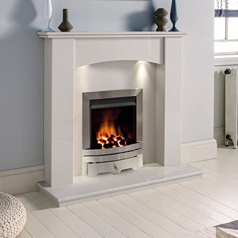 White Marble Stone Modern Curved Wall Surround Gas Fireplace Suite