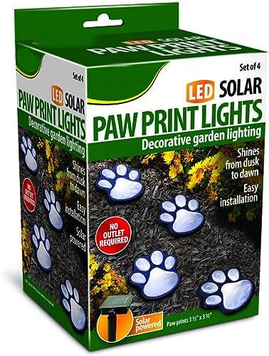 4 solar dog animal paw print Lights garden statue lantern LED path 3 light lamp