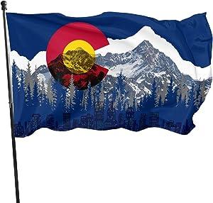 Arybocil Colorado Mountain 3x5 Foot Flag Outdoor 100% Single-Layer Translucent Polyester 3'x5' Ft Banner for Garden Home