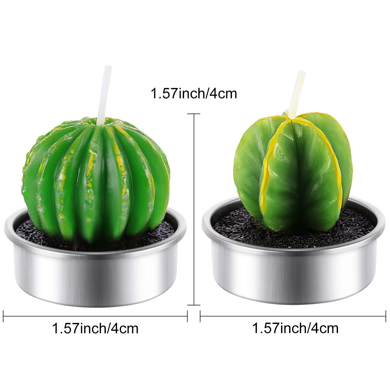 Tatuo 12 Pieces Cactus Candles Succulent Cactus Rose Tealight Handmade Candles for Teatime Spa Home Party Wedding Decoration Gifts by Tatuo (Image #4)