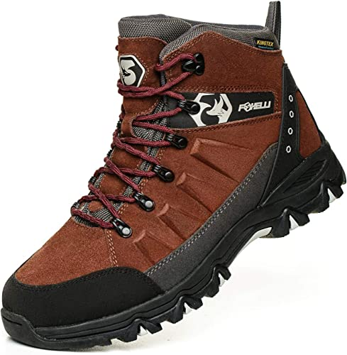 Foxelli Men's Hiking Boots – Stylish Waterproof Suede Leather Hiking Boots for Men in red color, Breathable, Comfortable & Lightweight Hiking Shoes, high-quality slip-free soles.