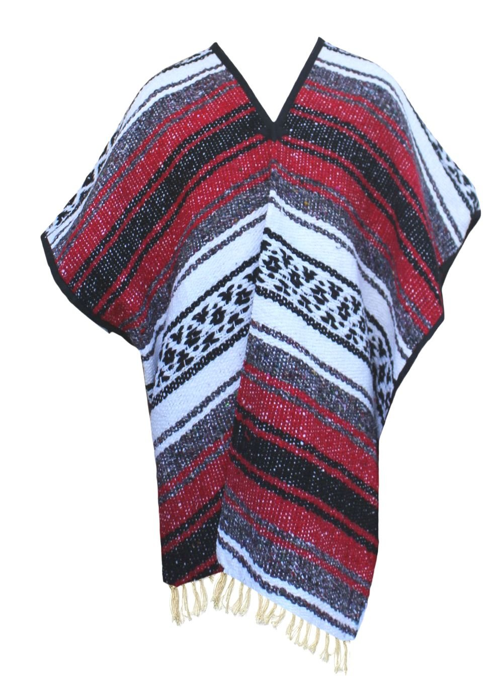 Del Mex Youth Child Classic Mexican Blanket Poncho Pancho Costume (Red)