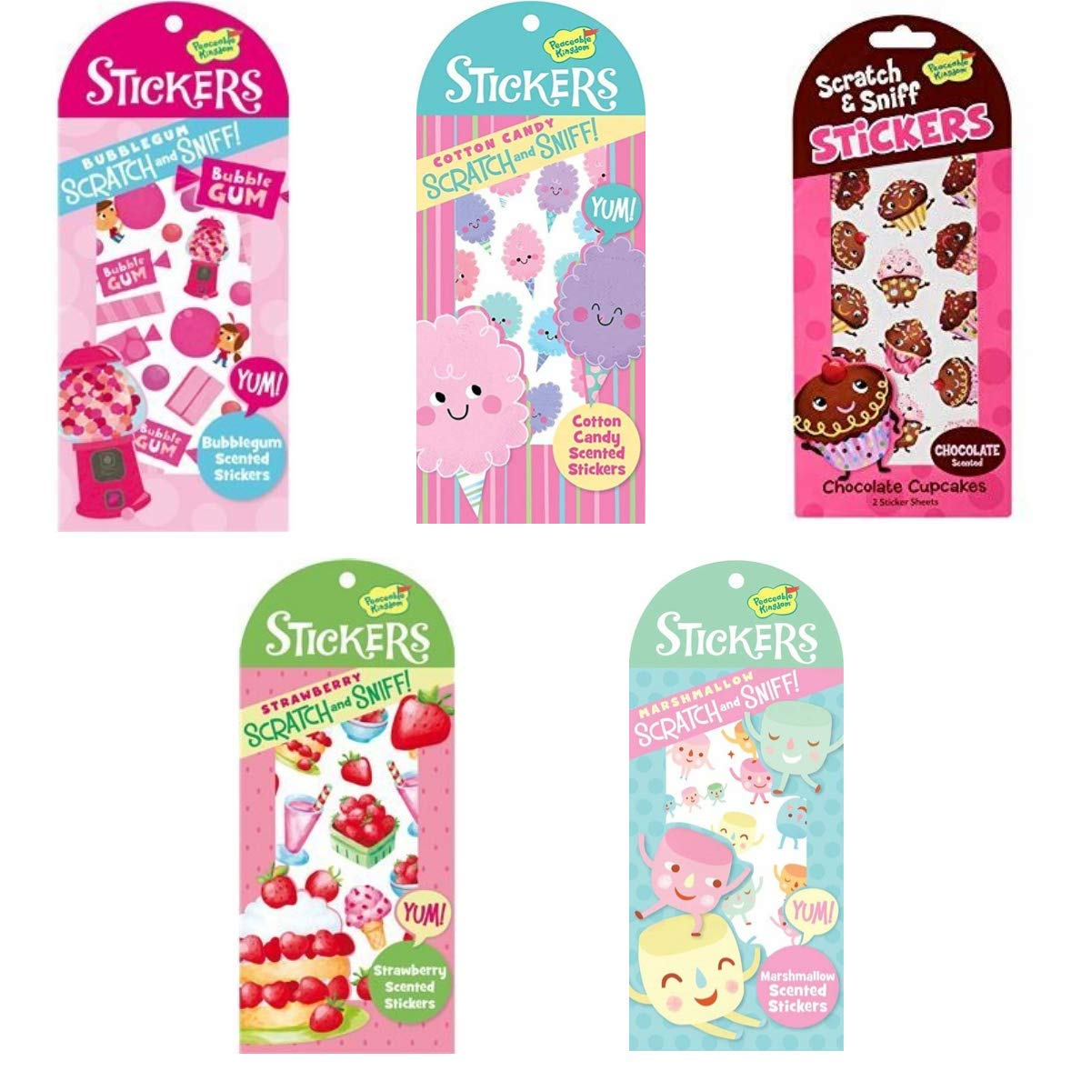 Peaceable Kingdom Scratch and Sniff Bubblegum Scented Sticker Pack 4204508