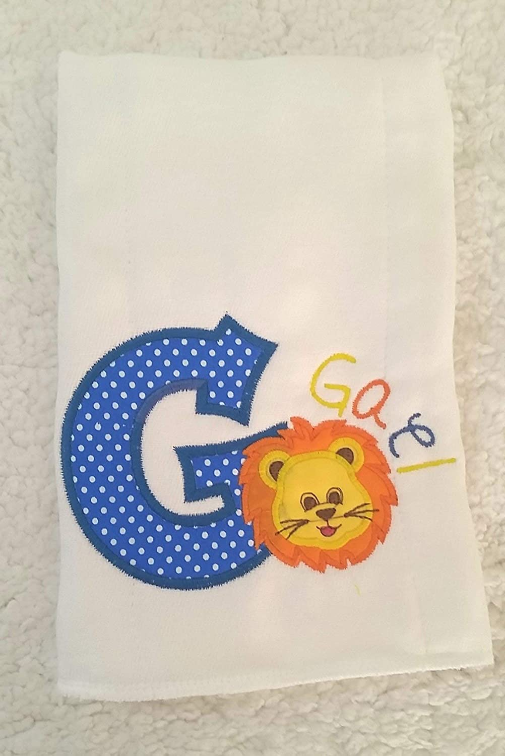 Embroidered with Personalized Name by We Made It For U Lion Series Burp Cloth for Baby Gifts 100/% Organic Cotton