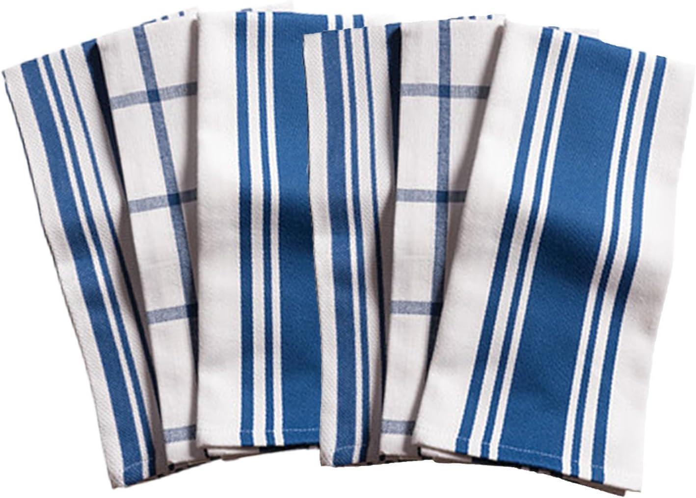 Amazon Com Kaf Home Kitchen Towels Set Of 6 Blue White 100 Cotton Machine Washable Ultra Absorbent Home Kitchen