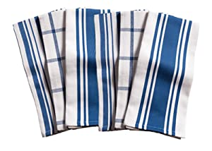 KAF Home Kitchen Towels, Set of 6, Blue & White, 100% Cotton, Machine Washable, Ultra Absorbent