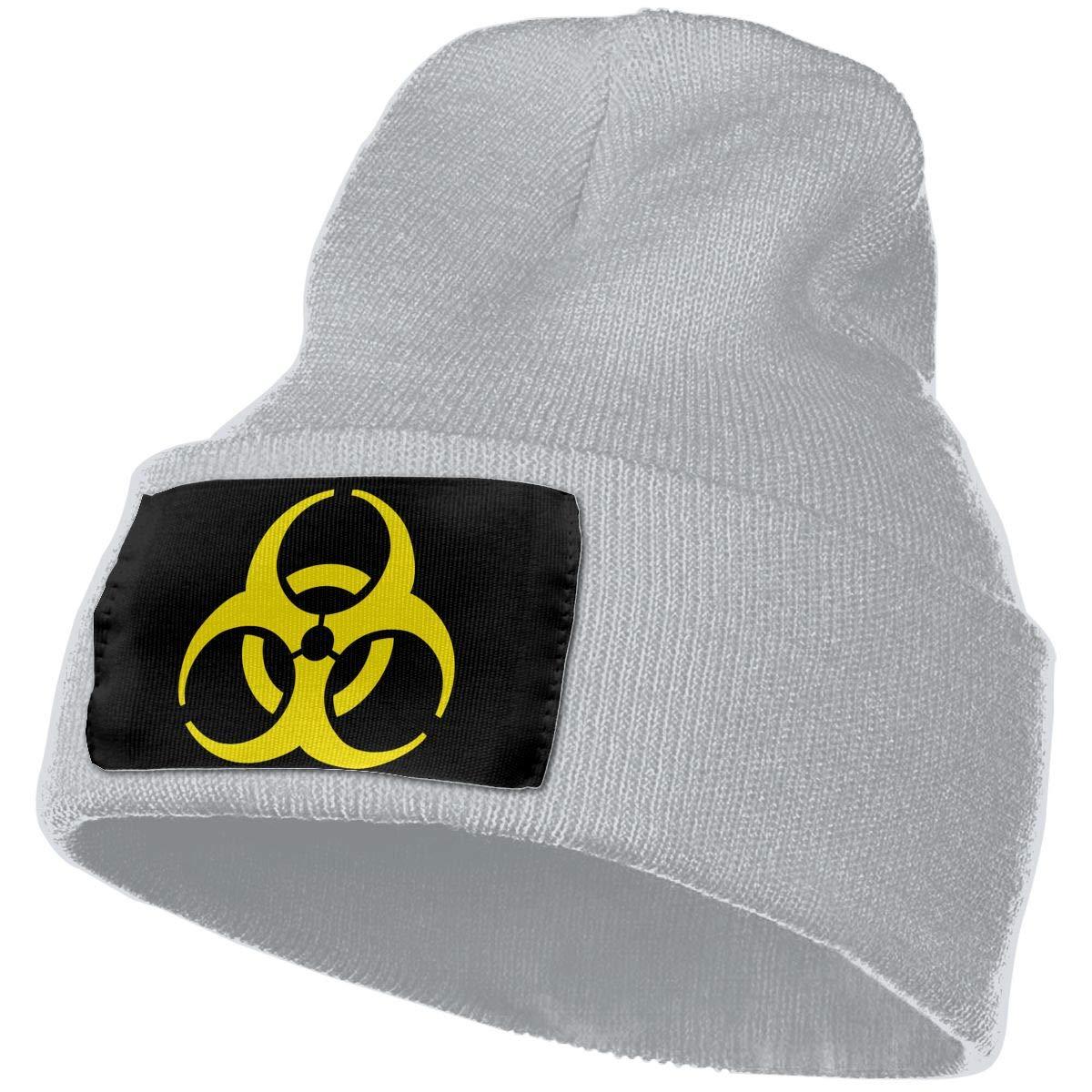 Biohazard Warning Symbol Men/&Women Warm Winter Knit Plain Beanie Hat Skull Cap Acrylic Knit Cuff Hat