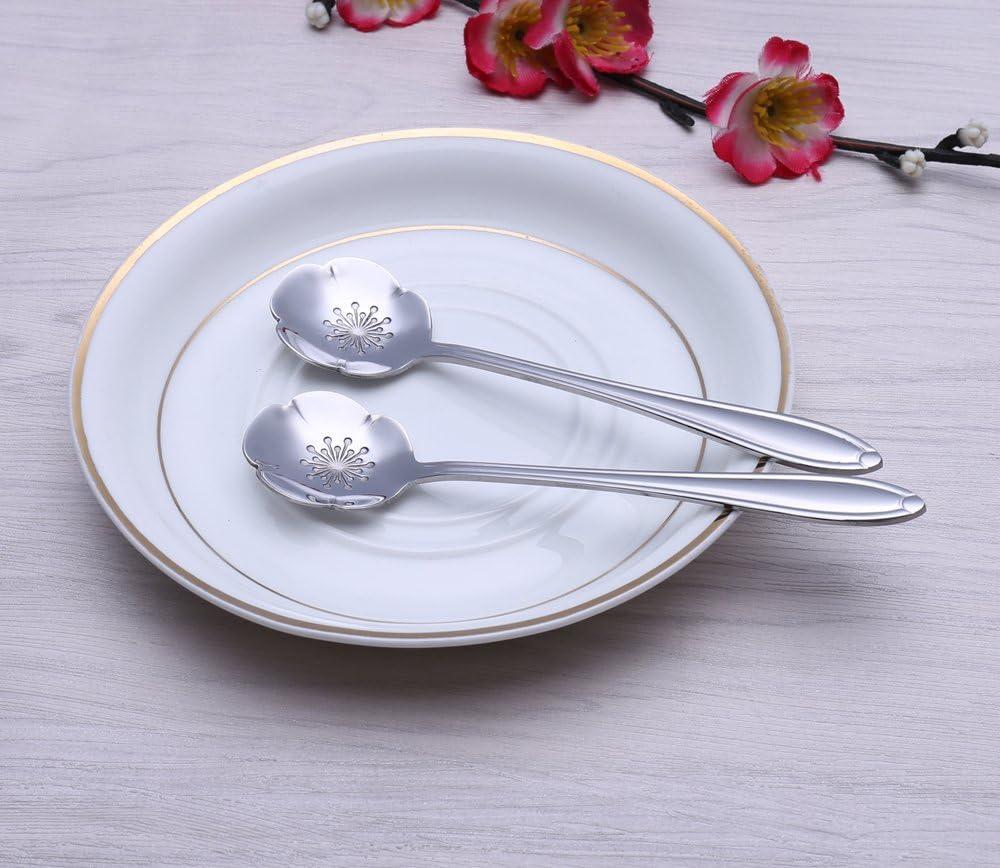 EKIND Tableware Sugar 304 Stainless Steel 8 Types Flower Spoon Coffee Spoon Pack of 8