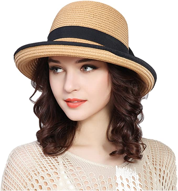 Tea Party Hats – Victorian to 1950s Kekolin Womens Straw Hat Floppy Foldable Roll up Beach Cap Sun Hat $15.70 AT vintagedancer.com