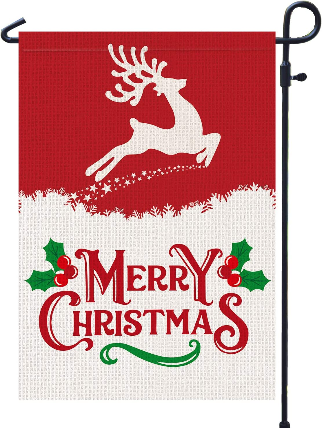 PAMBO Merry Christmas Garden Flags Burlap, Deer and Elk 12x18 Double Sided Flag for Christmas Outside Yard Outdoor Decoration