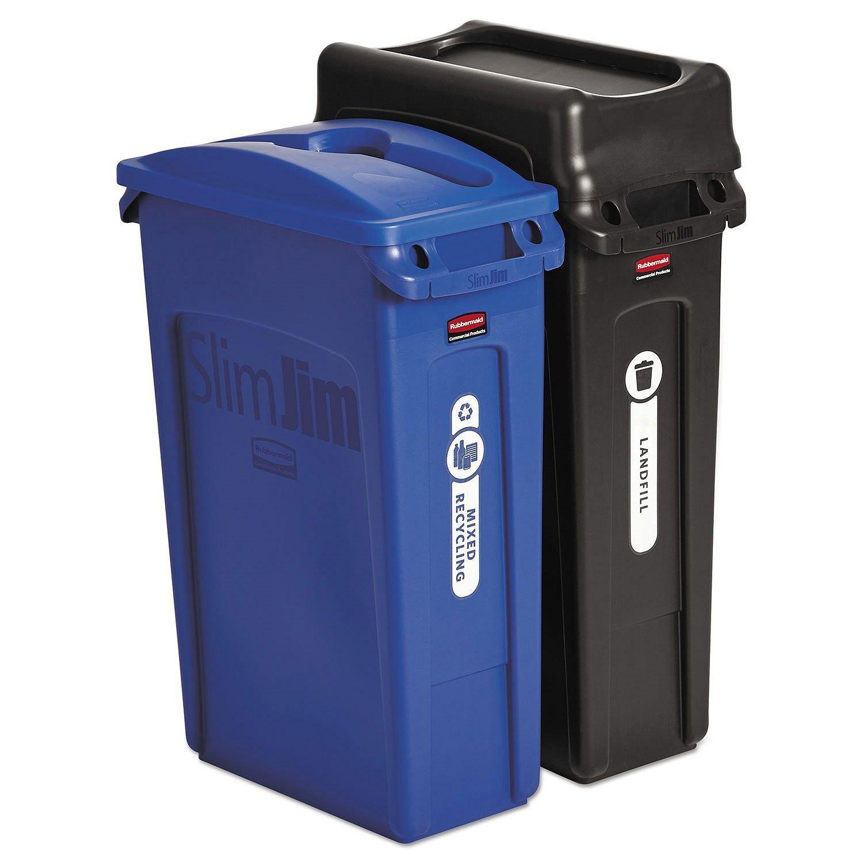 23 gal. SlimJim Waste Bin Trash Can Plastic Receptacle Bundle (2-pack)