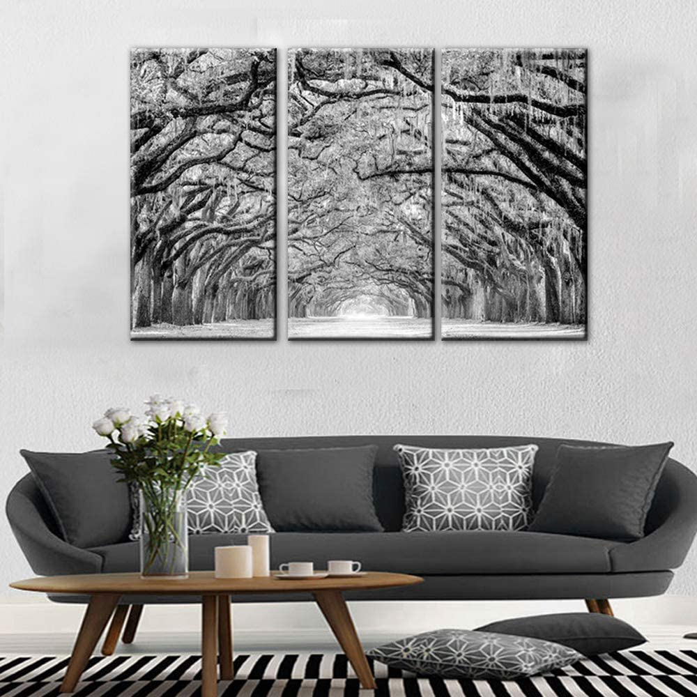 TUMOVO 3 Panels Black White Tree Canvas Wall Art - Oak Trees are Draped with Spanish Moss Landscape Canvas Pictures for Wall Framed Painting for Bedroom Living Room Office Ready to Hang(28''x42'')