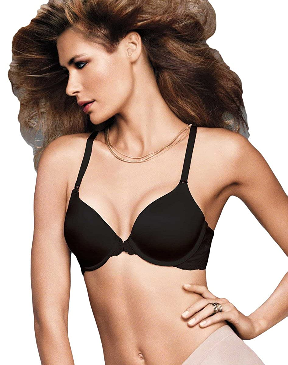 a2aab8b0c6 Maidenform One Fab Fit Extra Coverage Lace T-Back Bra Black 40D at Amazon  Women s Clothing store