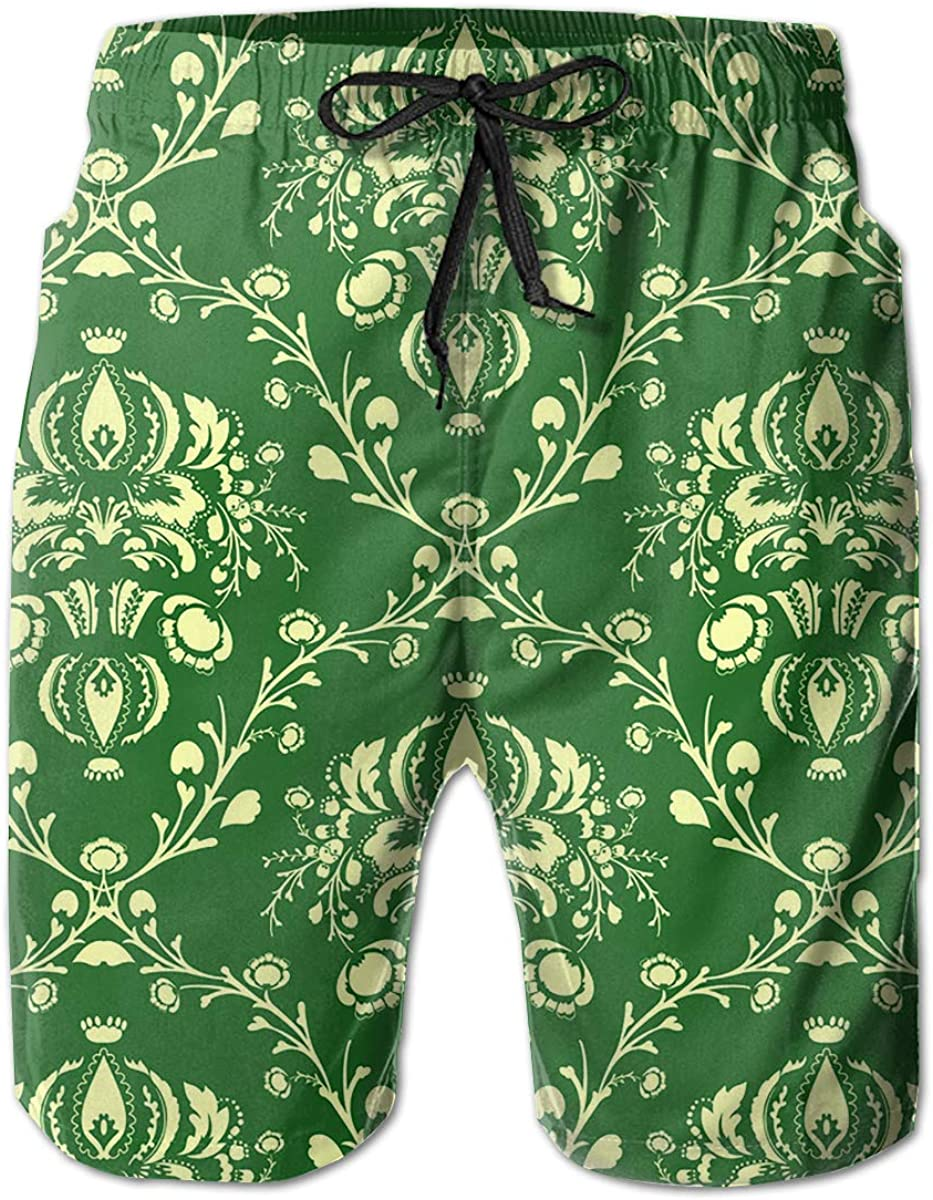 Mens Swim Trunks The Green Kings Head Quick Dry Beach Board Shorts with Mesh Lining