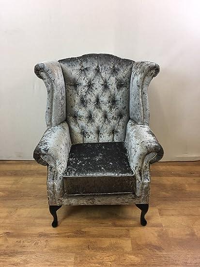 Patas de acero gris, Queen Anne ala silla, de terciopelo con ...