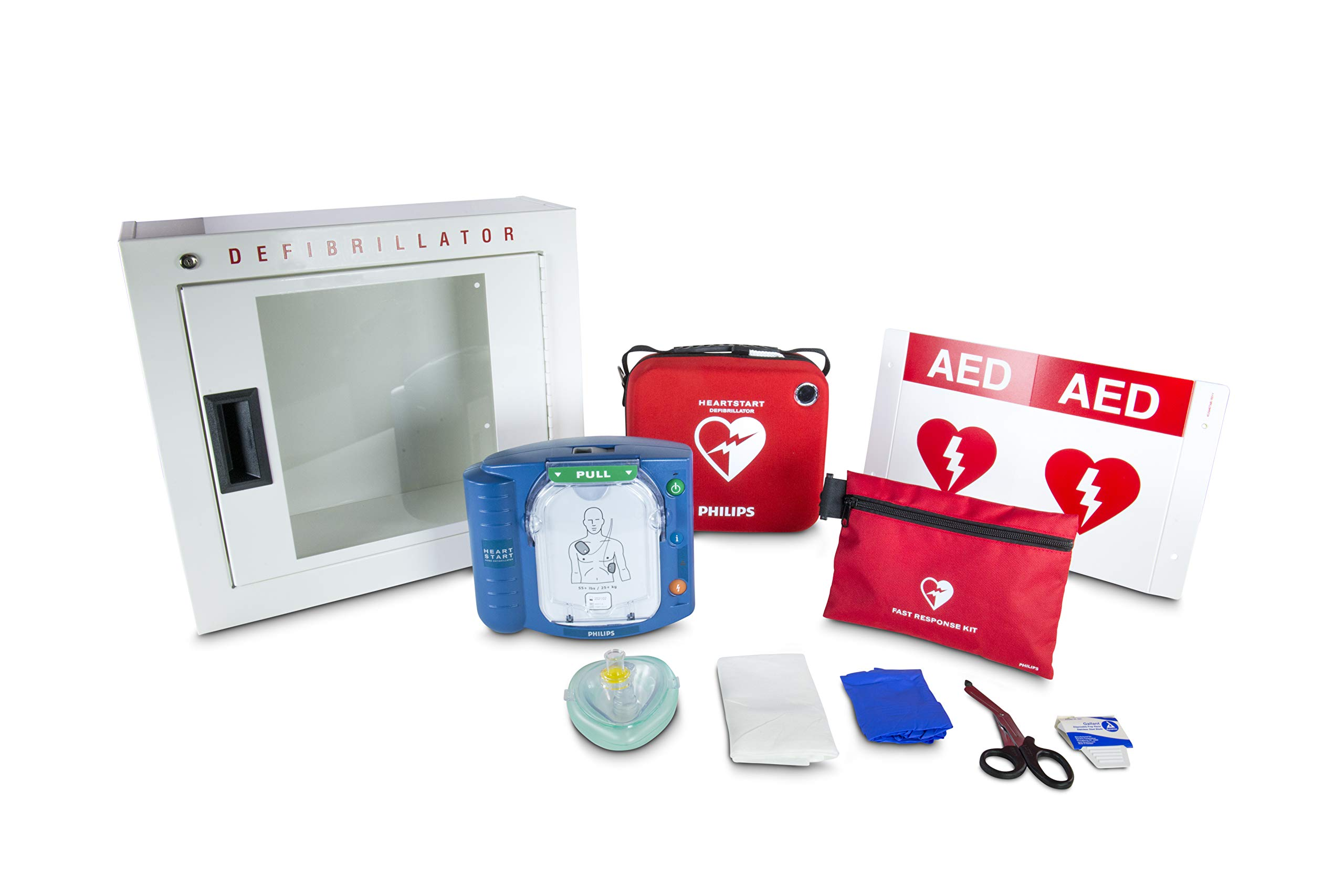 Philips HeartStart OnSite AED Defibrillator Business Package with Slim AED Carry Case, AED Wall Sign, Fast Response Kit and AED Basic Cabinet by HeartStart