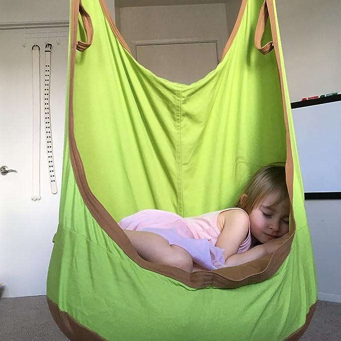 eggdel Frosch zum Aufhängen Pod Swing Sitz Innen- und Outdoor Hängematte für Kinder bis Erwachsene (Grün)