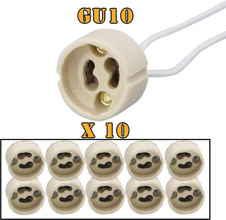 GU10-PACK x 10 Portalámparas casquillos GU10 para bombillas halogenas hasta 100W y bombilla led, zócalo de cerámica con cable de silicona 150mm de alta resistencia. Socket Lamp Holder Silicon Wire: Amazon.es: Bricolaje