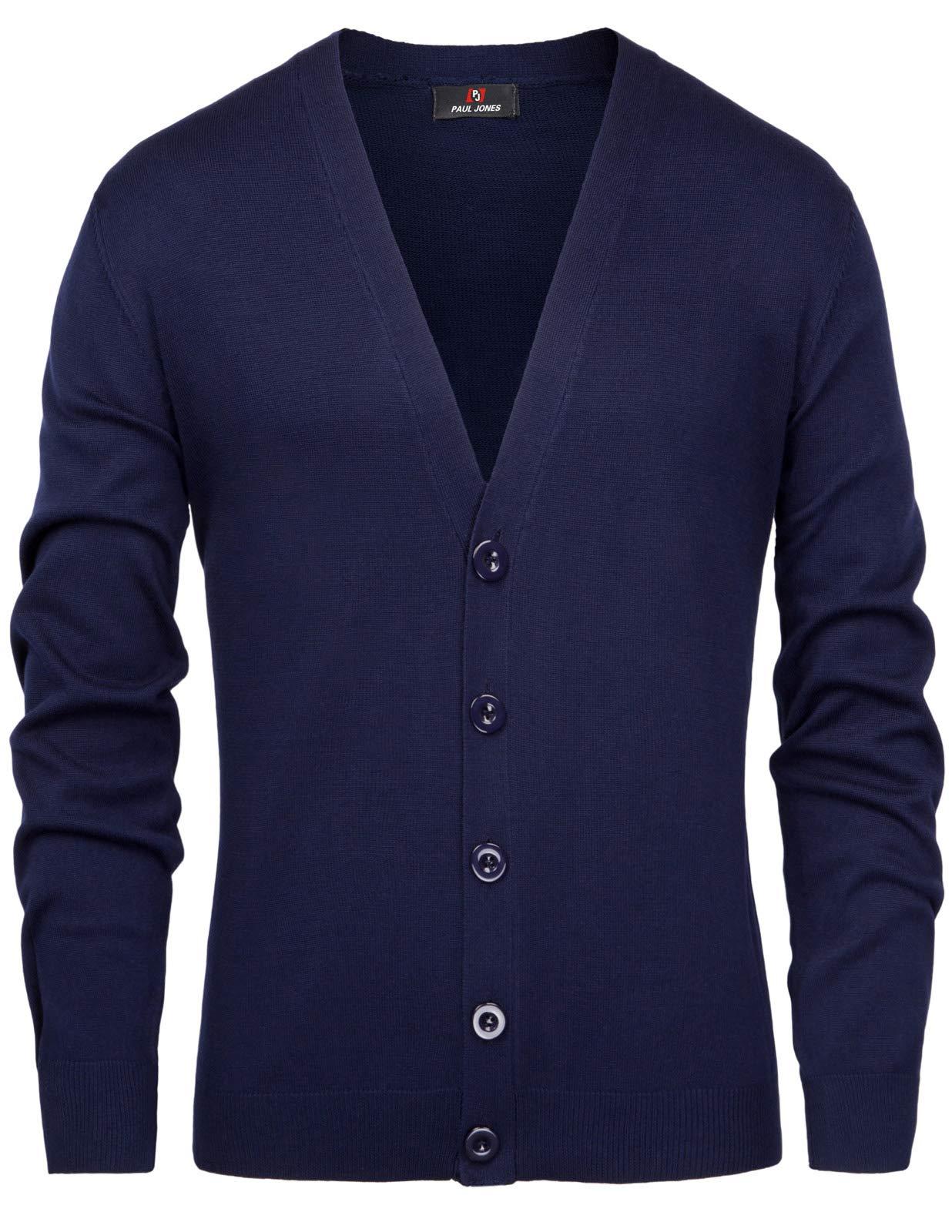 PAUL JONES Men's Slim Fit V-Neck Button Placket Knitting Knitwear S Navy Blue by PAUL JONES
