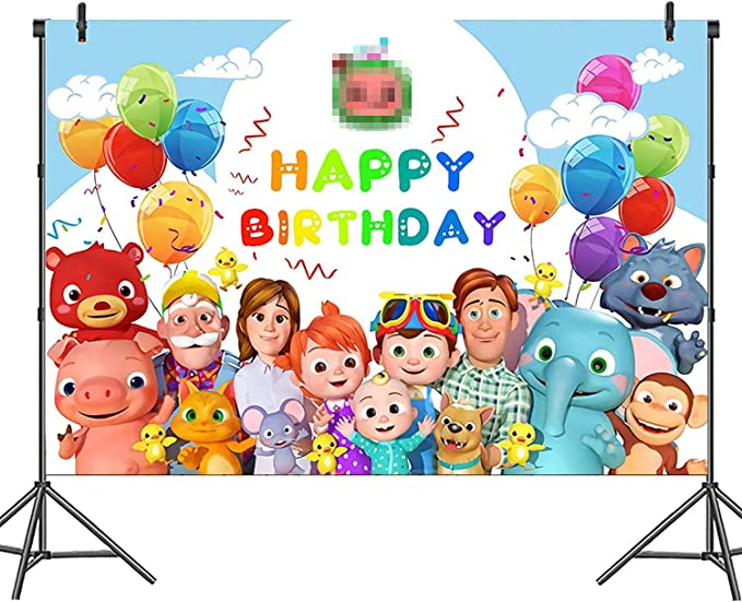 Cocomelon Photography Backdrops Baby Shower Birthday Party Photo Background Colorful Polka Vinyl Photo Studios Props Banner Large Photo Background Wall Decorations Birthda