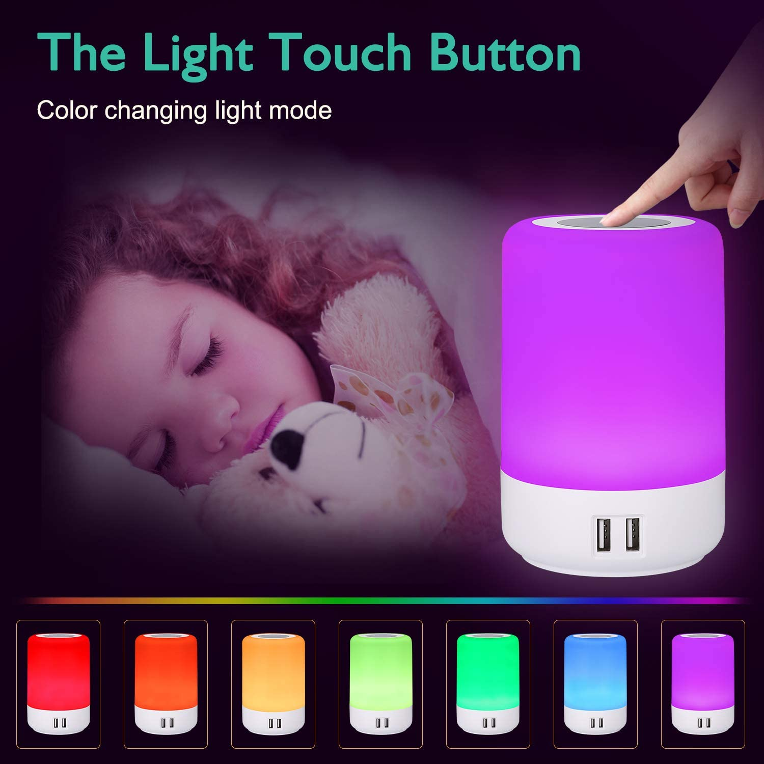 Lámpara escritorio led, luz nocturna infantil, Smart Touch Lamp, lamparas tactiles a pilas, lampara inteligente colores (luz blanca cálida regulable de 3 niveles y cambio de color de seis RGB) Usb Lamp