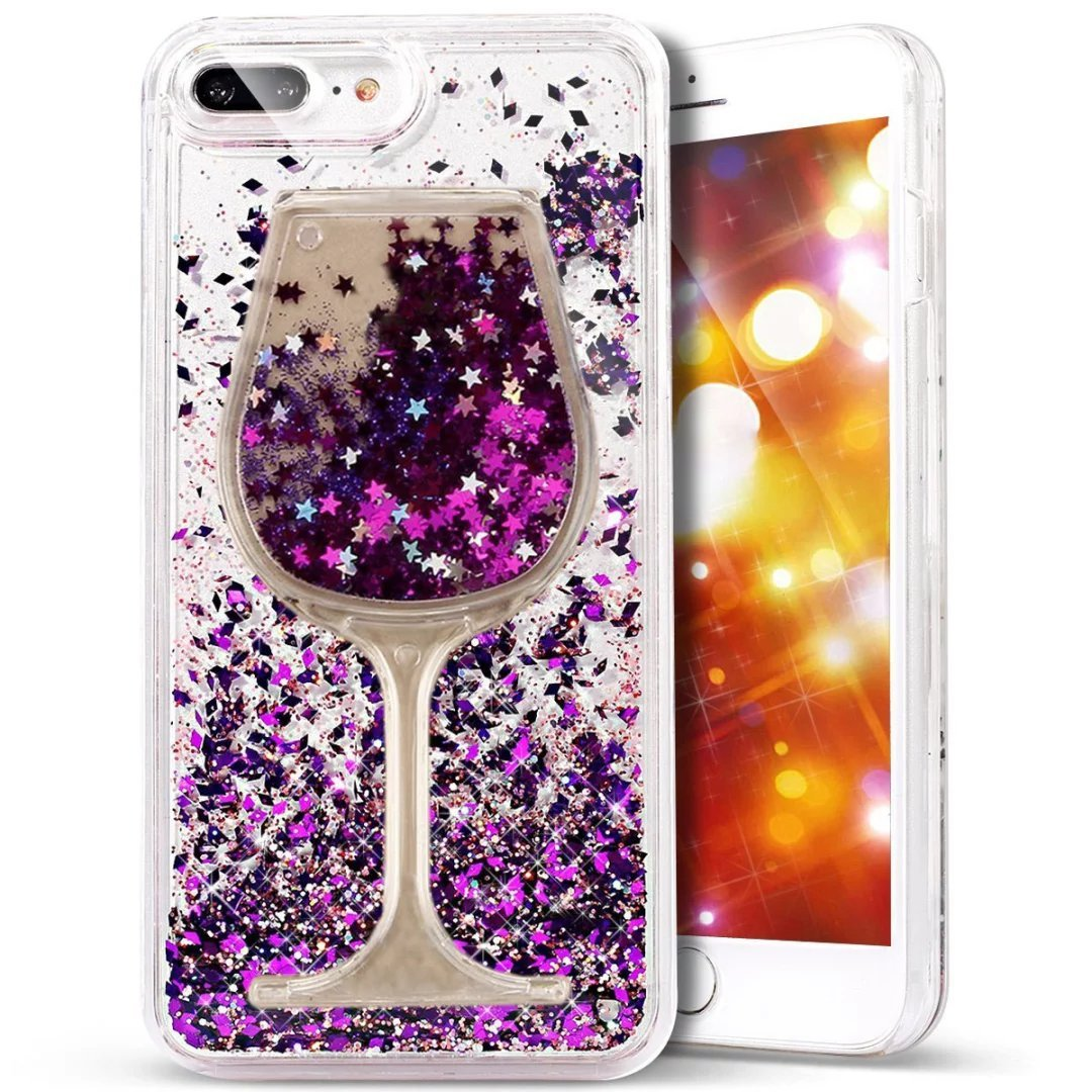 Glitter Bling Hearts Flowing Liquid Heart Clear Hard Case for iPhone 8 Plus Diamond Purple