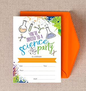 Personalised Mad Science Birthday Party Invitations Amazon Co Uk