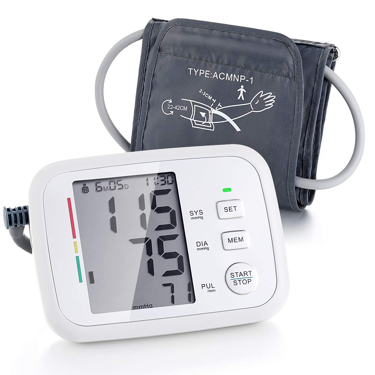 Prymax Blood Pressure Monitor Cuff Upper Arm BP Monitor Machine. Large Fits Arms 8.5-17 Inches Automatic Digital Portable, FDA Approved, Irregular Heart Beat Detection, Large Screen, 2 User*90 Reading