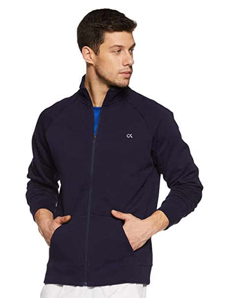 fe87778083b Calvin Klein Performance Cotton Zip Through Sweat Jacket with Statement  Logo at Back (4mf8j412469 Evening Blue Small