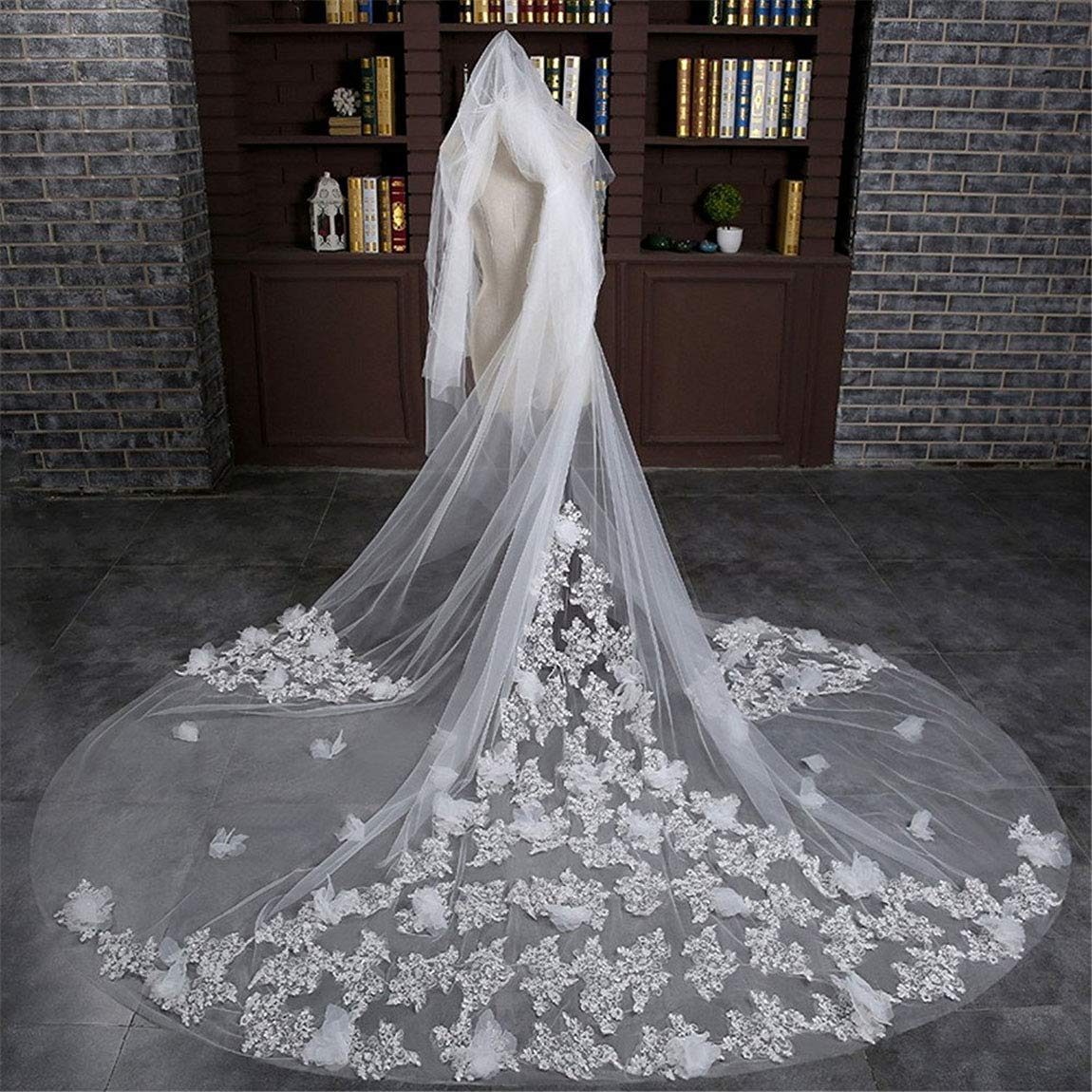 Fenghuavip 3D Flowers Cathedral Veils 2 Tier Sequins Wedding Veil for Bride with Comb
