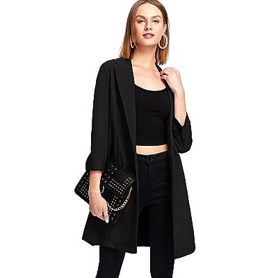 MAKEMECHIC Women's 3/4 Sleeve Shawl Collar Open Front Office Longline Blazer at Women's Clothing store
