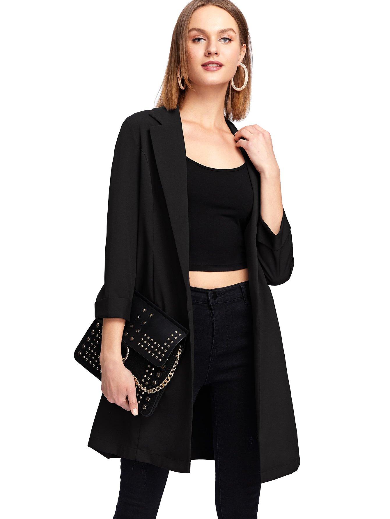 MakeMeChic Women's 3/4 Sleeve Shawl Collar Open Front Office Longline Blazer Black M